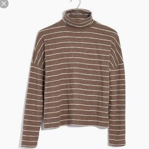 Madewell Striped Boxy Turtleneck Long Sleeve Top